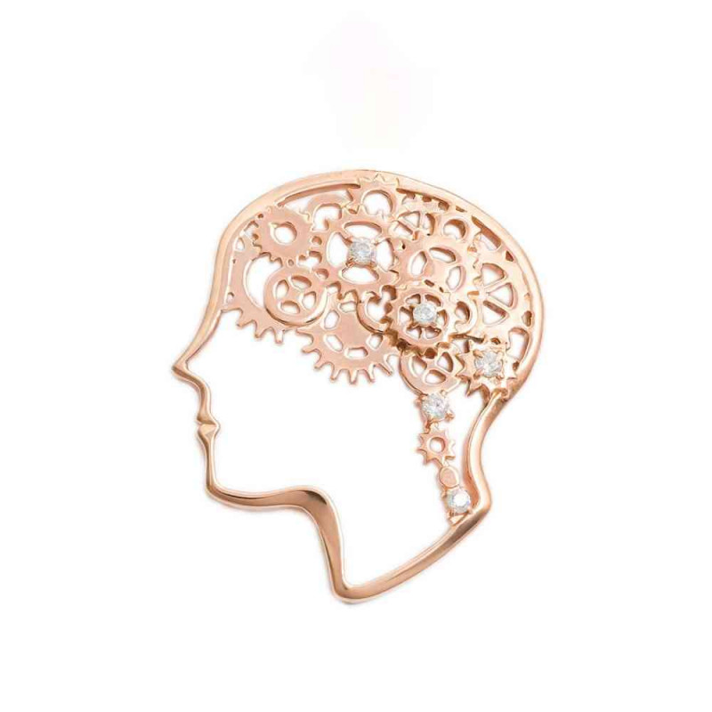 """Brooch """"Gears"""" gold plated"""
