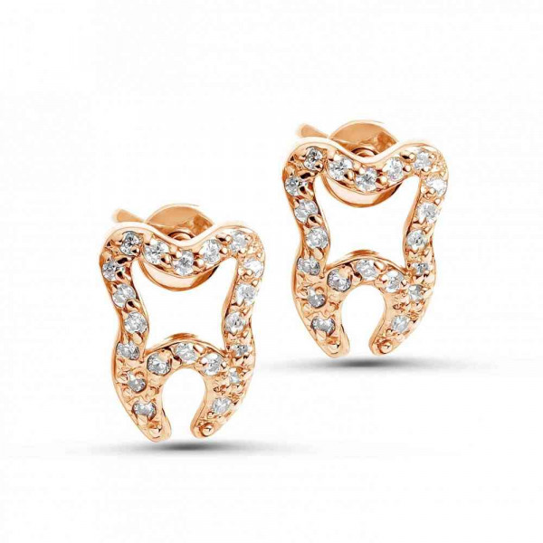 """Studs """"Tooth-Crystal"""" gold plated"""