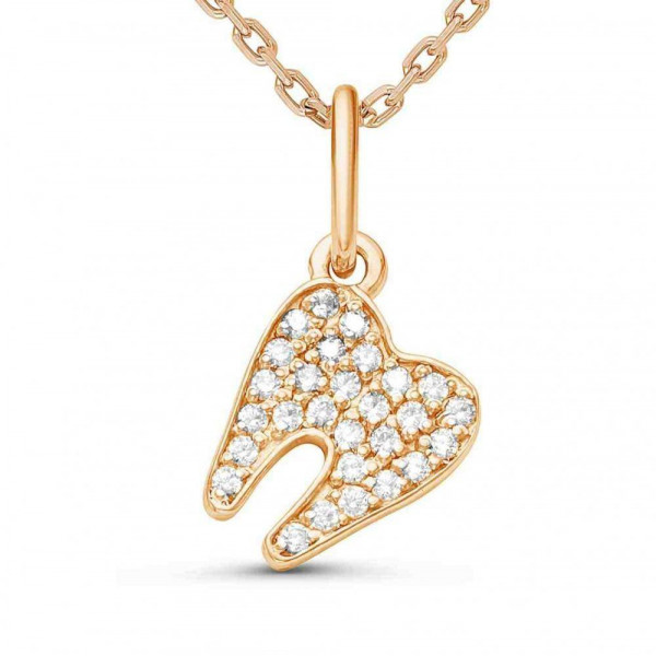 """Pendant  """"Tooth incrusted"""" 14K"""