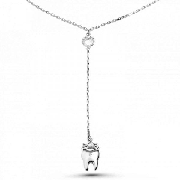"""Drop necklace """"Small tooth with a crown"""""""