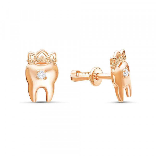"""Studs """"Tooth with crown"""" 14K"""