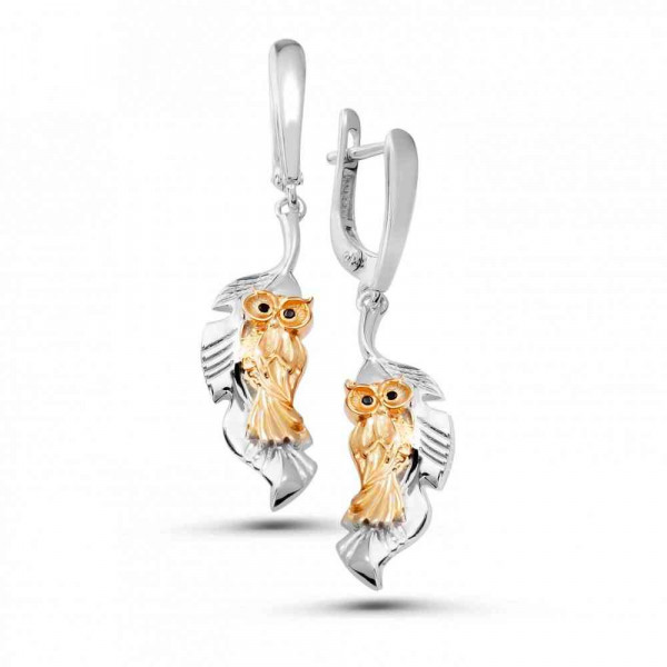 """Earrings """"Owls"""" with local gold plating"""