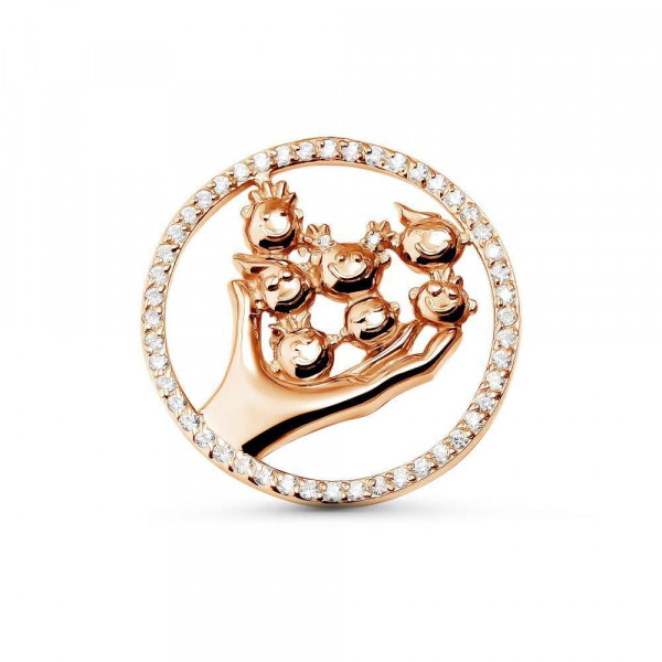 """Brooch """"Babies in the palm"""" gold plated"""