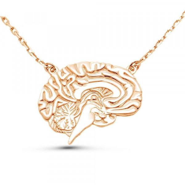 """Necklace """"Brain № 3"""" gold plated"""