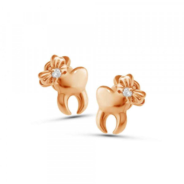 """Studs """"Teeth with a bow"""" gold plated"""
