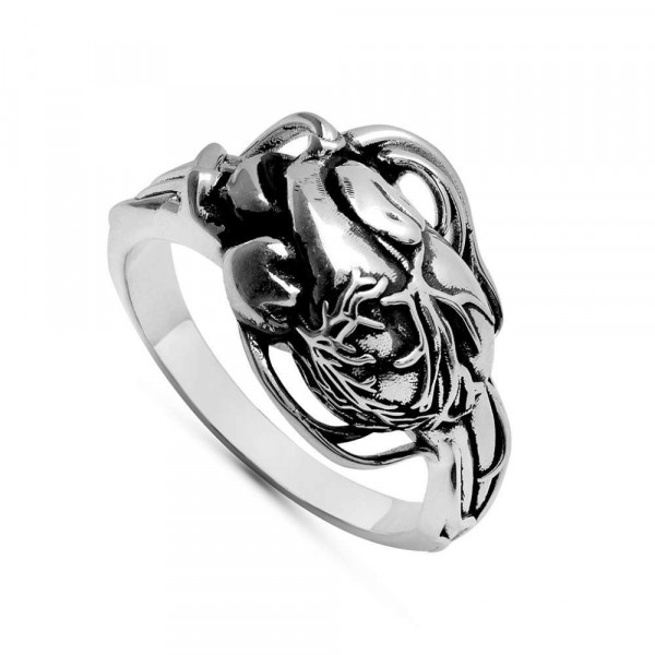 """Ring """"Anatomical heart"""" with blackening"""