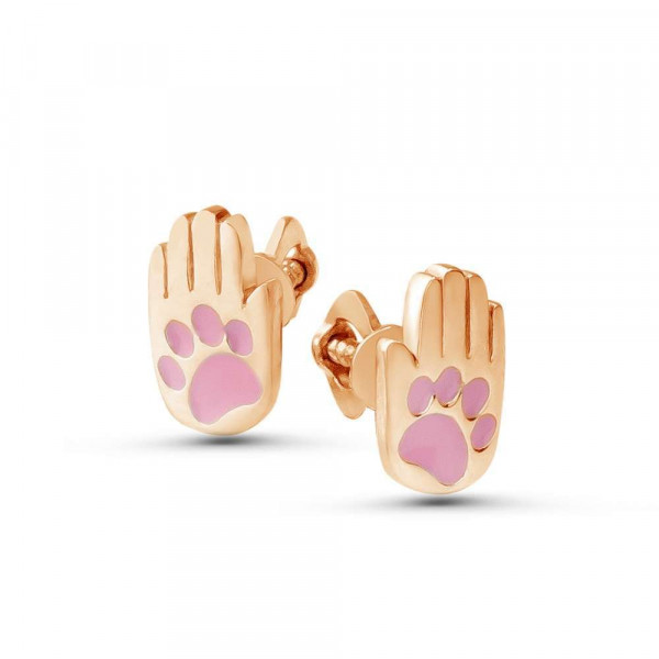 """Studs """"Paw-palm-Cat"""" gold plated"""