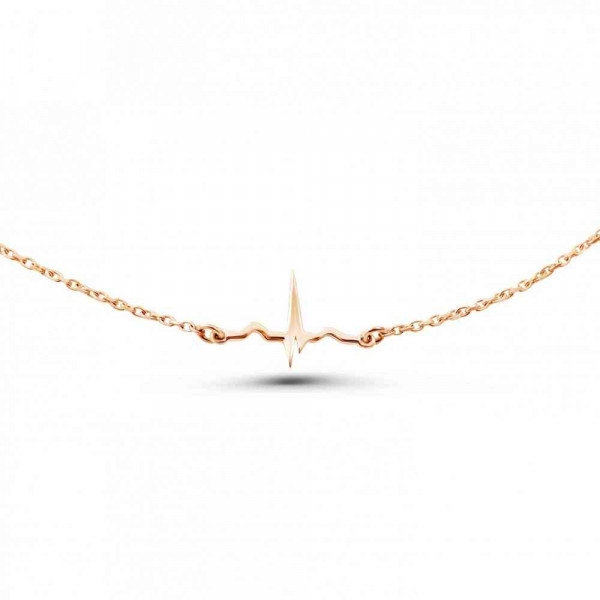 """Tiny necklace """"ECG"""" gold plated"""