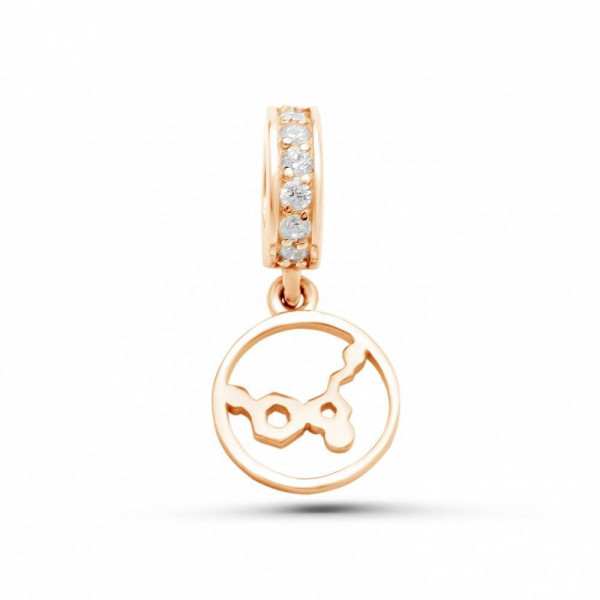 """Charm """"Serotonin in a circle"""" gold plated"""