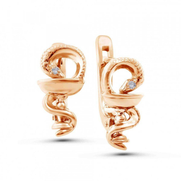 """Earrings """"Bowl of Hygeia № 2"""" gold plated"""