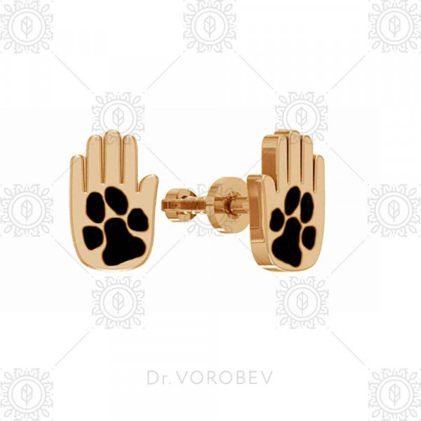 """Studs """"Paw-palm-Dog"""" gold plated"""