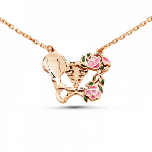 """Necklace """"Anatomical butterfly"""" gold plated"""