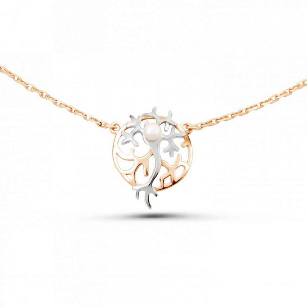 """Necklace """"Neuron in a circle"""" gold plated"""