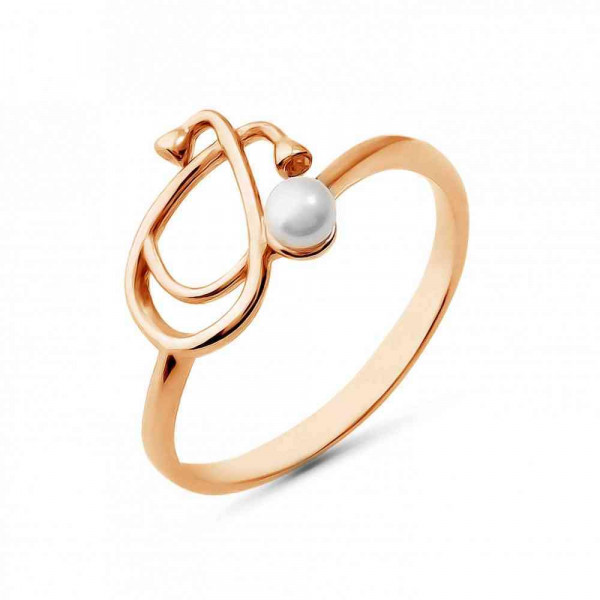 """Ring """"Phonendoscope with pearls"""" gold plated"""