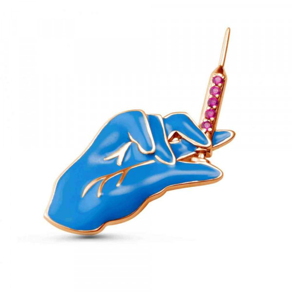 """Brooch """"Hand with a syringe"""" gold plated"""