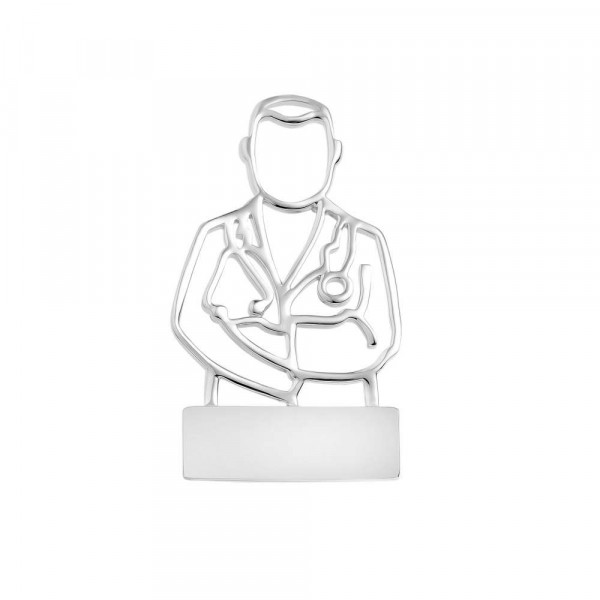 """Brooch """"Mr. Doc"""" with individual engraving"""