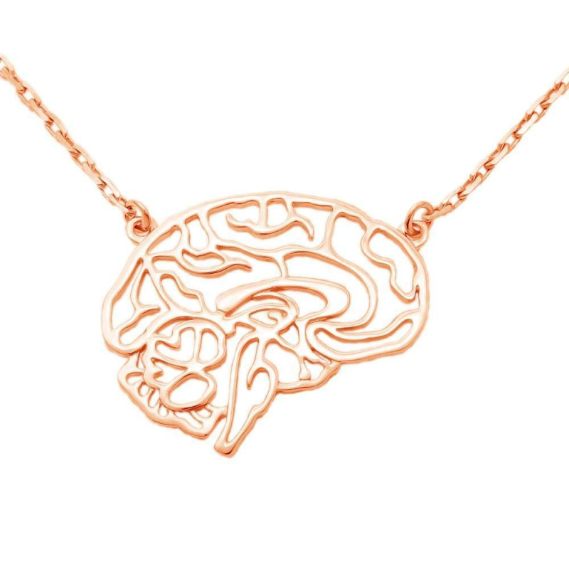 """Necklace """"Brain carved"""" gold plated"""