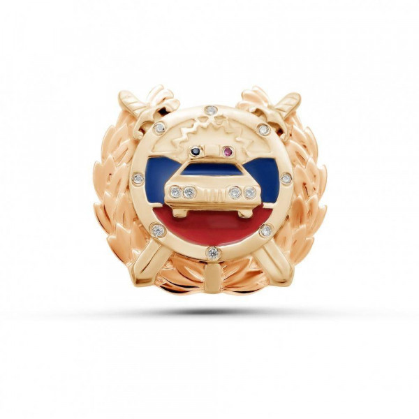 """Pin """"Traffic police"""" gold plated"""