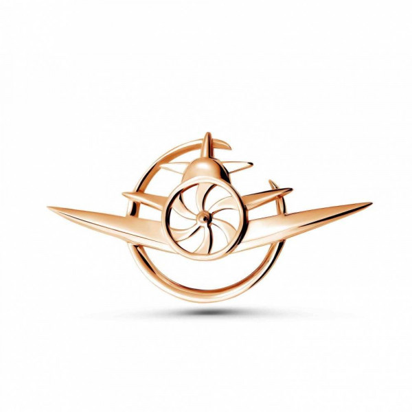 """Brooch """"Airplane №2"""" gold plated"""