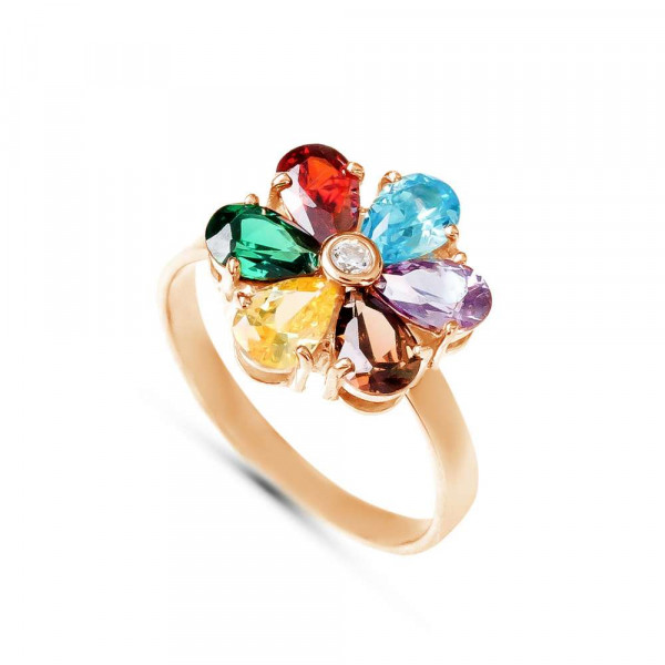 """Ring """"Seven colours flower"""" gold plated"""