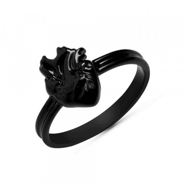 """Ring """"Heart with vessels"""" black clear"""
