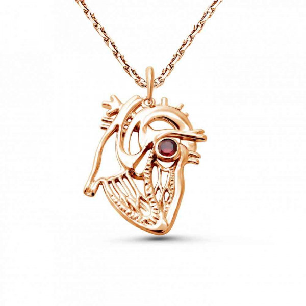 """Pendant """"Anatomical heart sectional № 2"""" gold plated"""