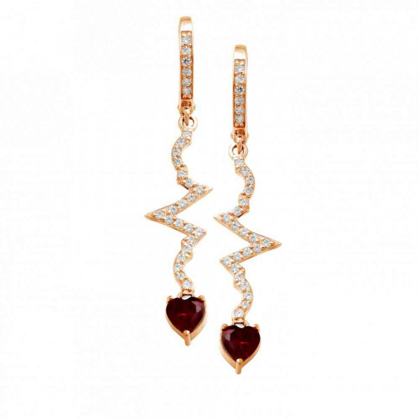 """Earrings """"ECG with heart"""" gold plated"""