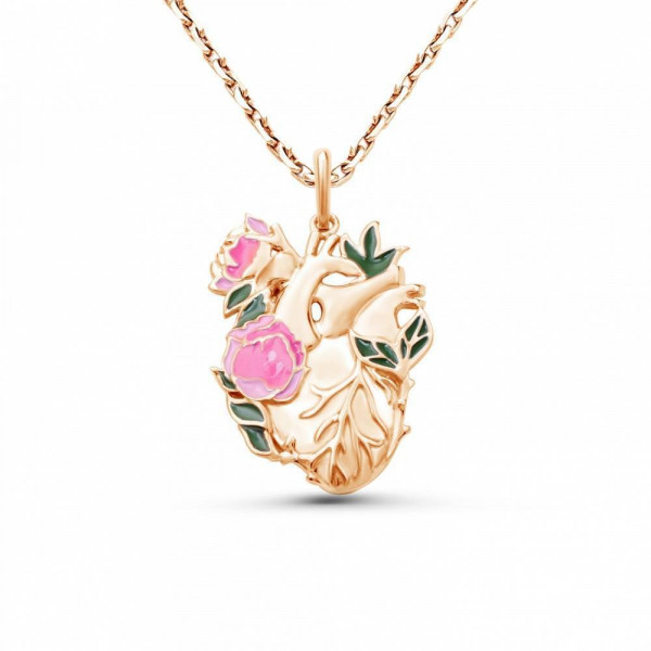 """Pendant """"Blooming heart"""" gold plated"""