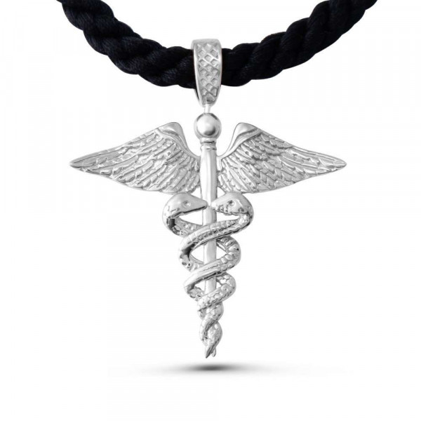 """Necklace """"Caduceus on Rope"""""""