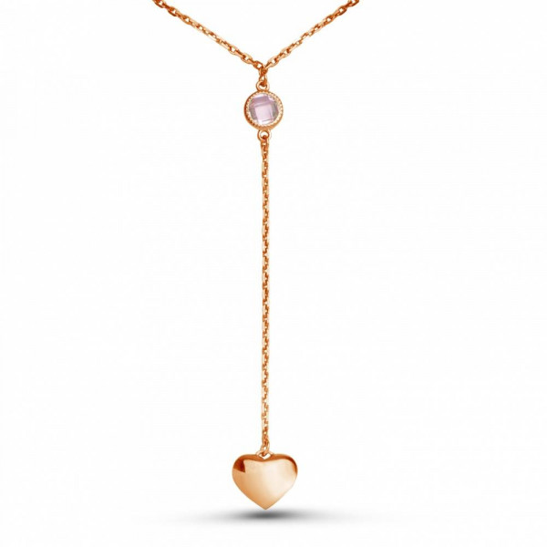 """Drop-necklace """"Heart with briolette"""" gold plated"""