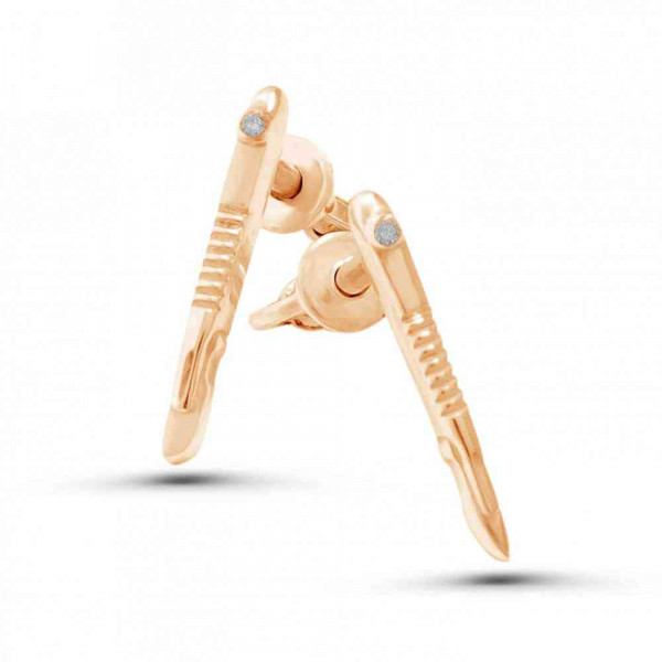 """Studs """"Scalpel"""" gold plated"""