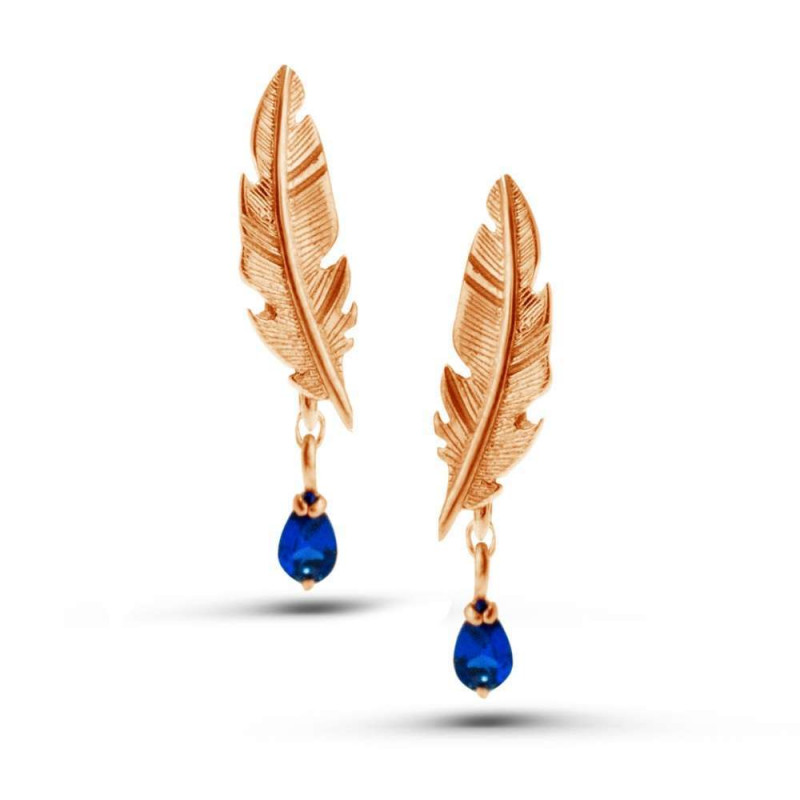 """Earrings """"Feather № 2"""" gold plated"""