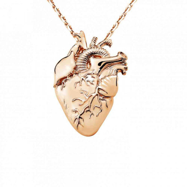 """Pendant """"Heart with vessels"""" gold plated"""