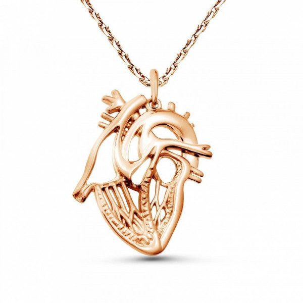 """Pendant """"Anatomical heart sectional"""" gold plated"""